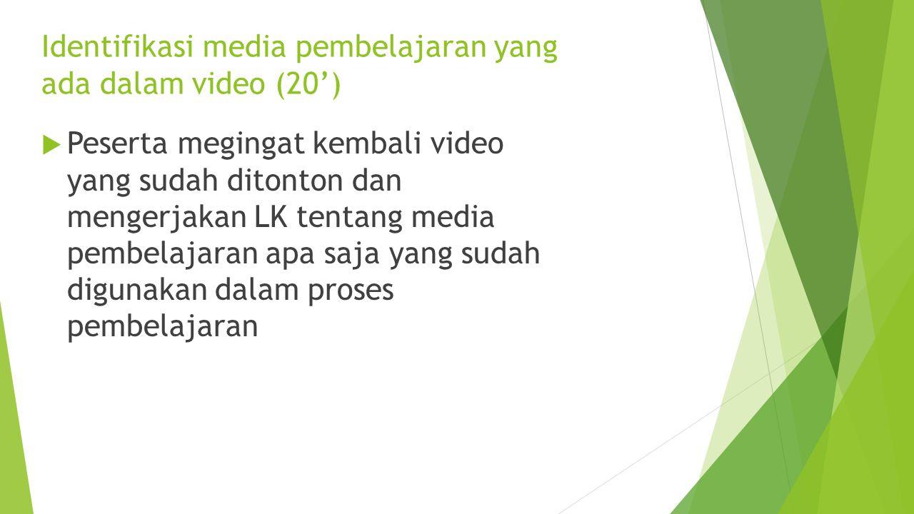 Identifikasi media pembelajaran yang ada dalam video (20')