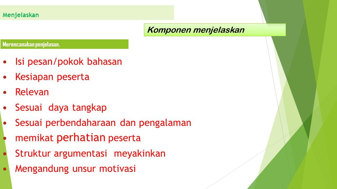 Isi pesan/pokok bahasan Kesiapan peserta Relevan Sesuai daya tangkap