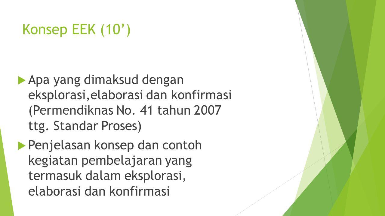 Konsep EEK (10') Apa yang dimaksud dengan eksplorasi,elaborasi dan konfirmasi (Permendiknas No. 41 tahun 2007 ttg. Standar Proses)