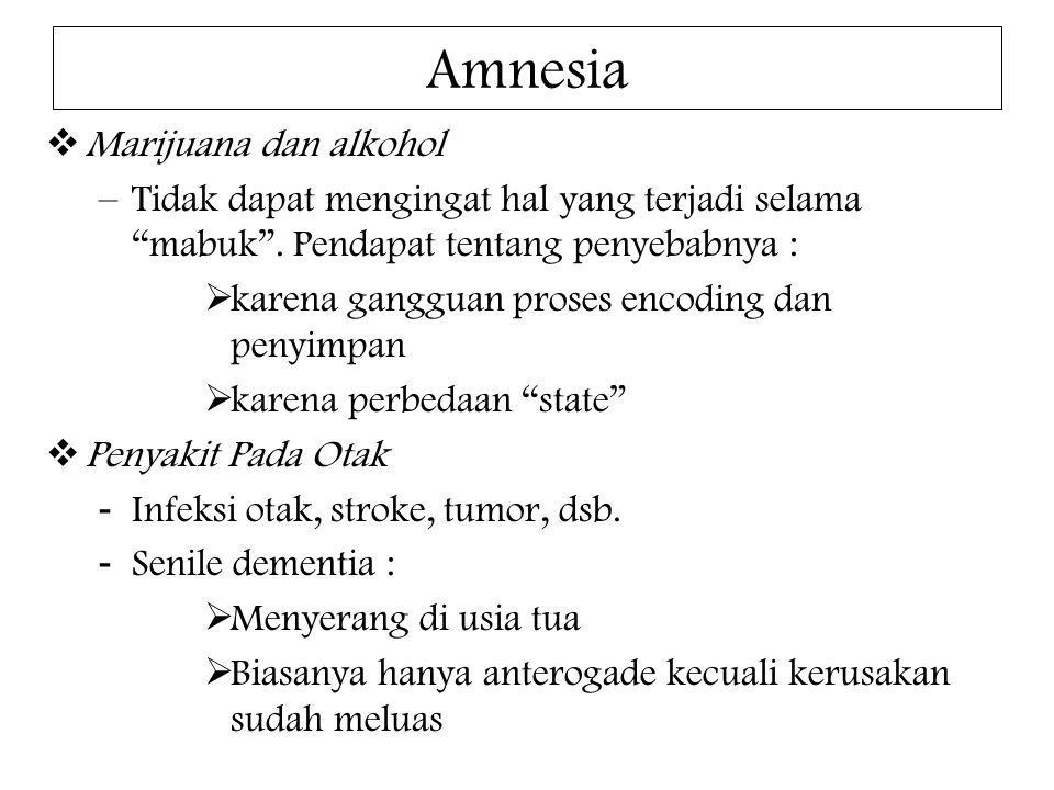 Amnesia Marijuana dan alkohol