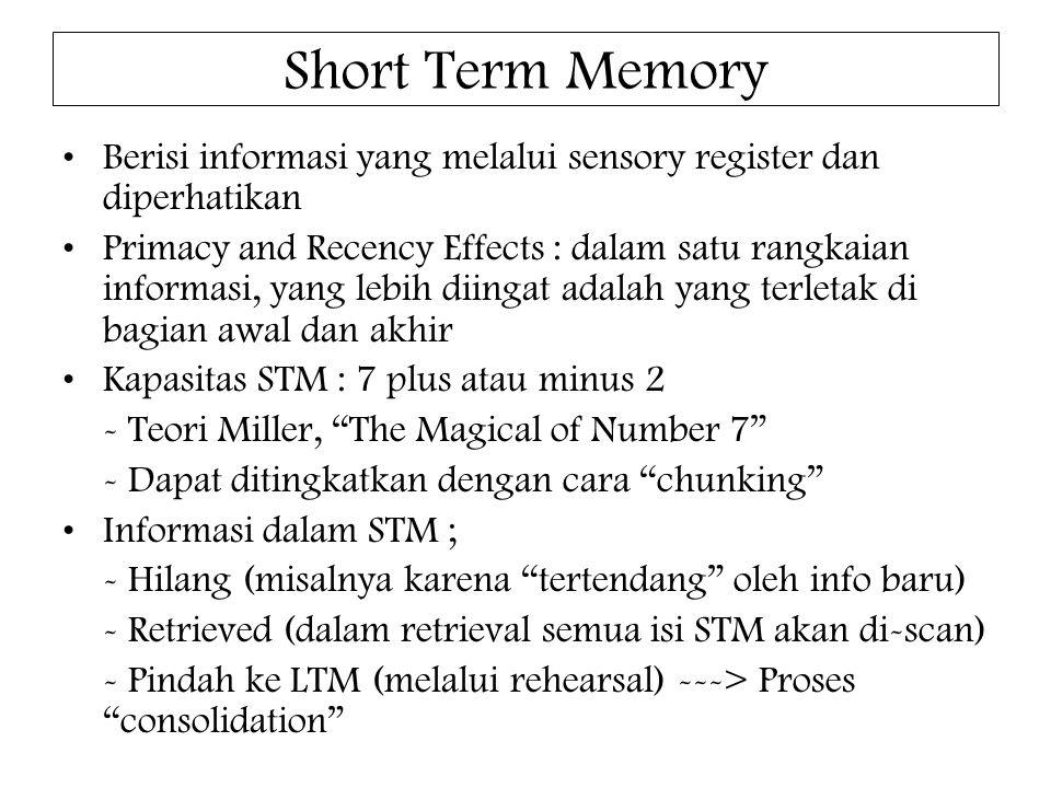 Short Term Memory Berisi informasi yang melalui sensory register dan diperhatikan.