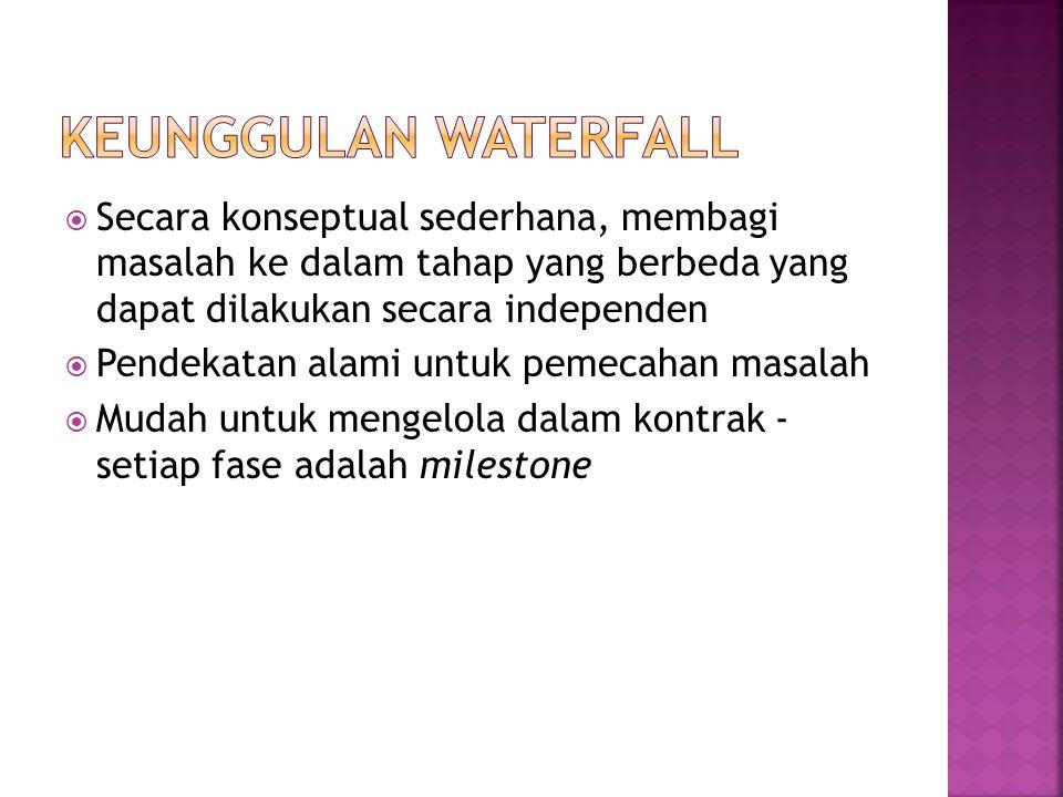Keunggulan Waterfall Secara konseptual sederhana, membagi masalah ke dalam tahap yang berbeda yang dapat dilakukan secara independen.