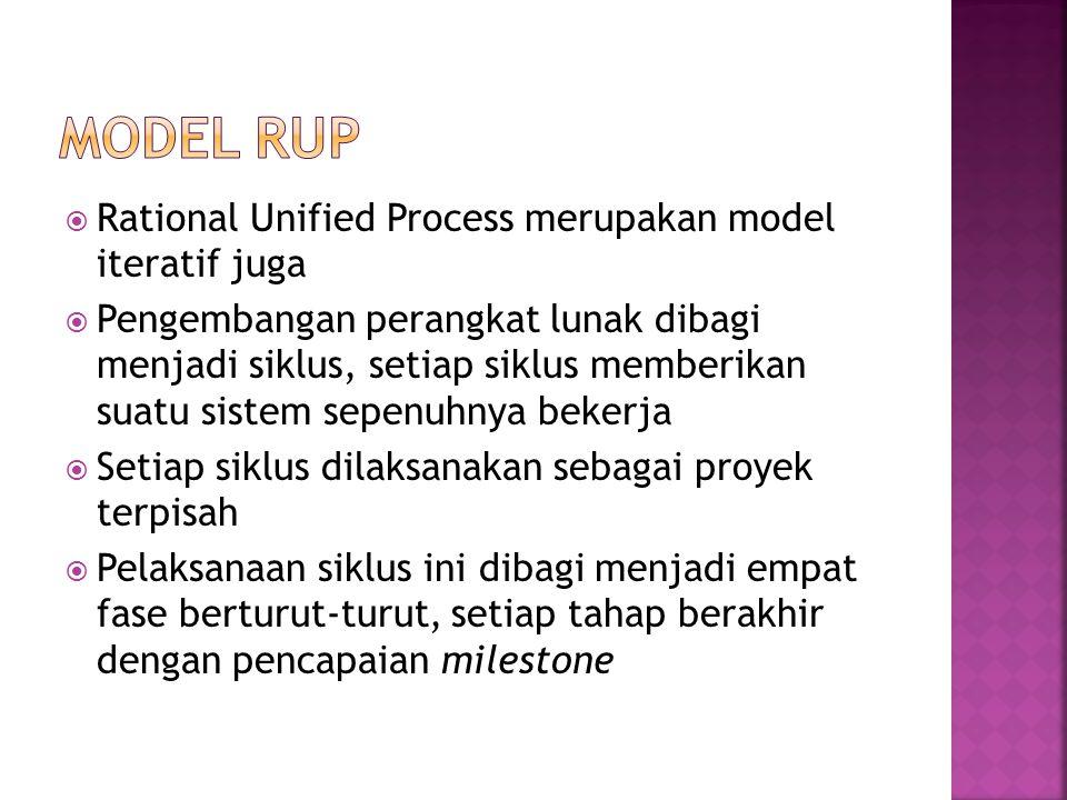 Model RUP Rational Unified Process merupakan model iteratif juga