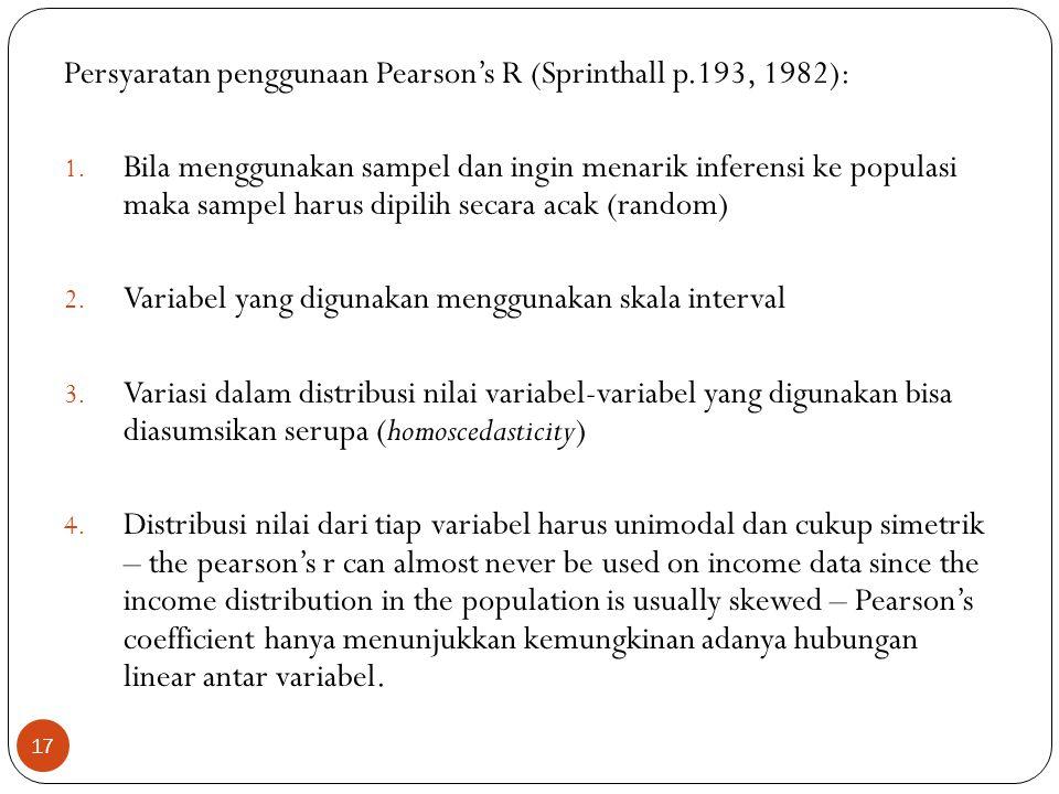 Persyaratan penggunaan Pearson's R (Sprinthall p.193, 1982):