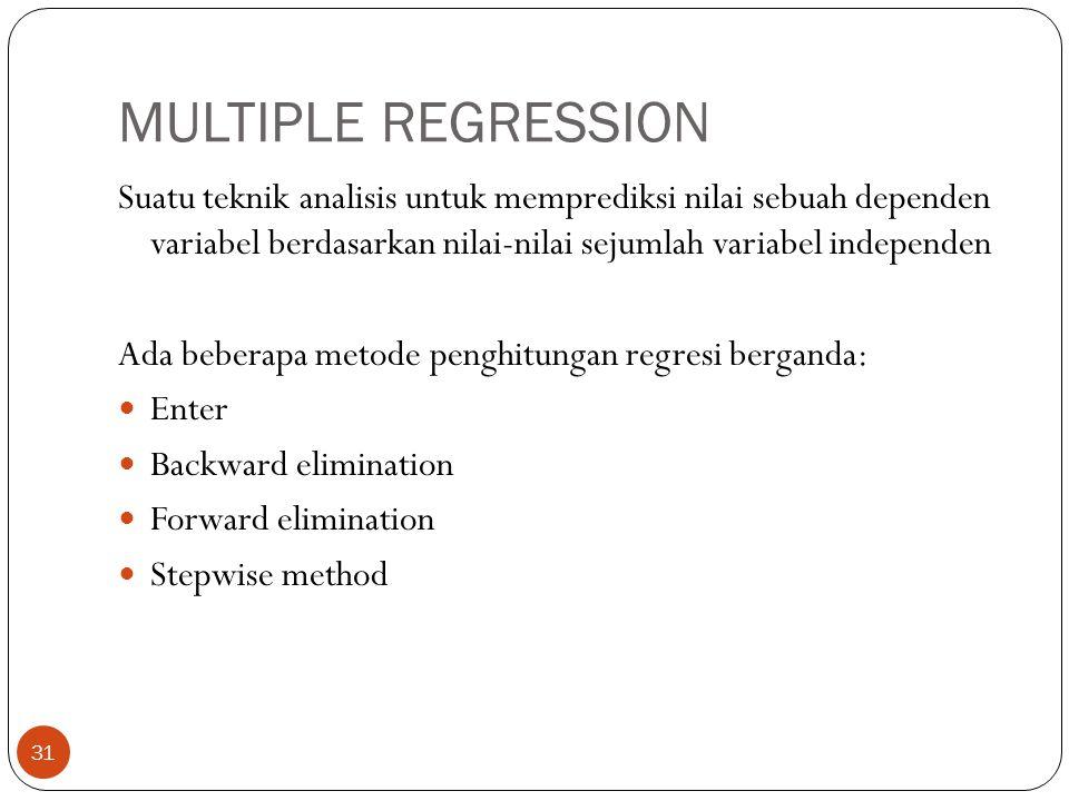 MULTIPLE REGRESSION Suatu teknik analisis untuk memprediksi nilai sebuah dependen variabel berdasarkan nilai-nilai sejumlah variabel independen.
