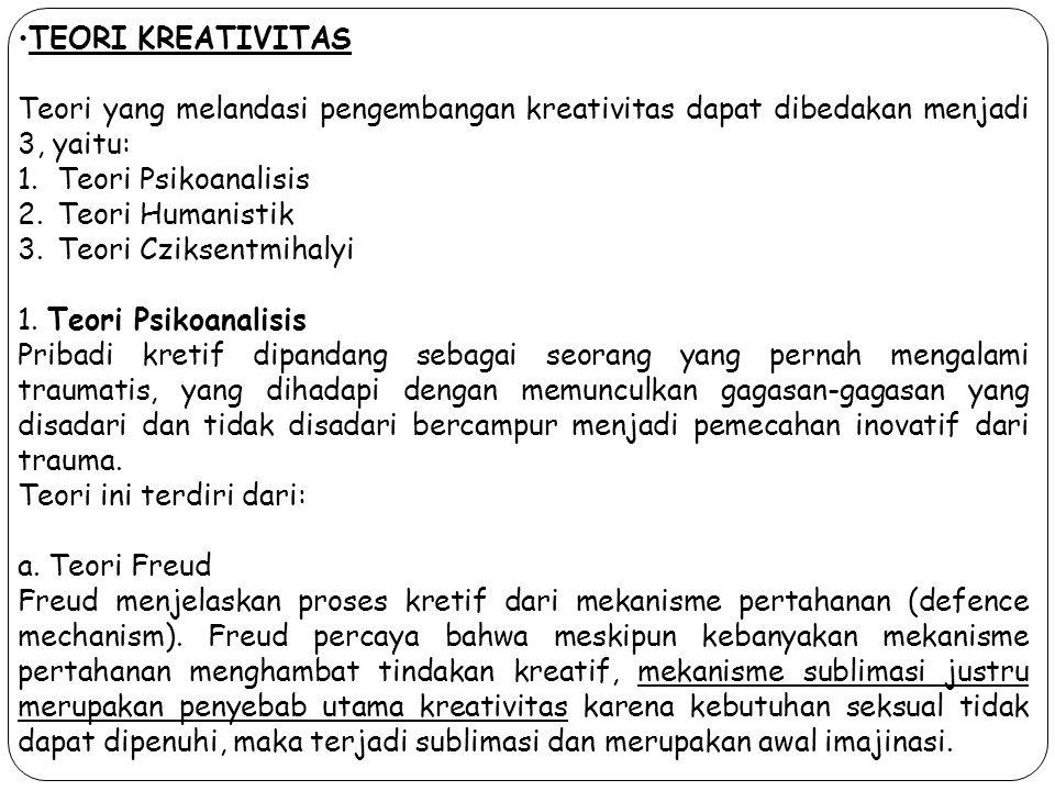 TEORI KREATIVITAS Teori yang melandasi pengembangan kreativitas dapat dibedakan menjadi 3, yaitu: Teori Psikoanalisis.