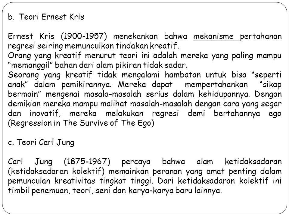 Teori Ernest Kris Ernest Kris (1900-1957) menekankan bahwa mekanisme pertahanan regresi seiring memunculkan tindakan kreatif.