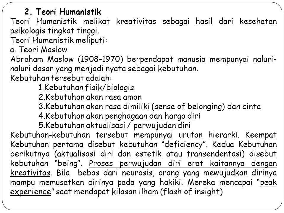 2. Teori Humanistik Teori Humanistik melikat kreativitas sebagai hasil dari kesehatan psikologis tingkat tinggi.