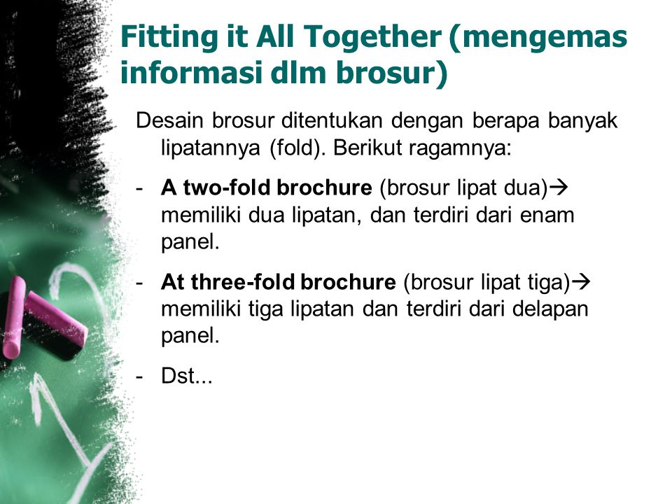 Fitting it All Together (mengemas informasi dlm brosur)