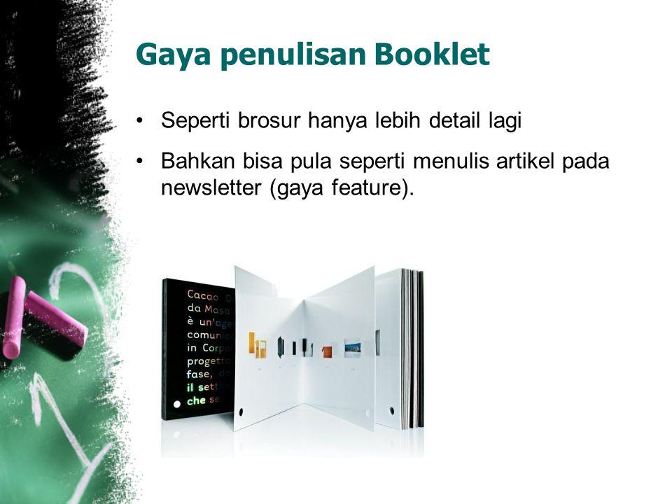 Gaya penulisan Booklet