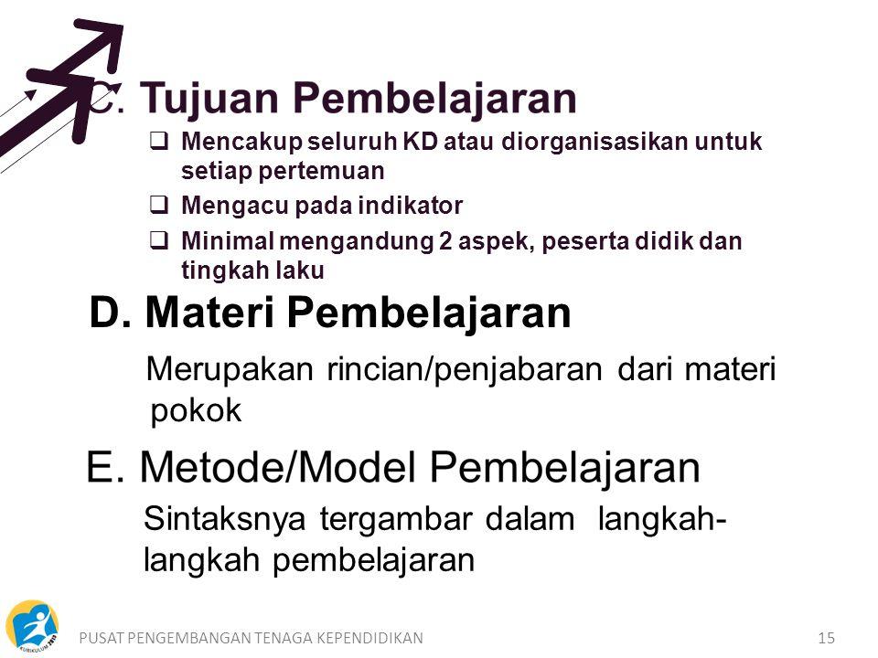 D. Materi Pembelajaran Merupakan rincian/penjabaran dari materi pokok