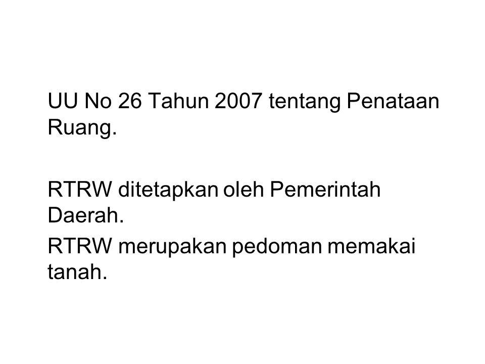 UU No 26 Tahun 2007 tentang Penataan Ruang.