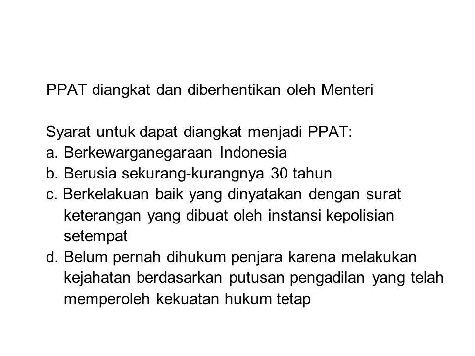 PPAT diangkat dan diberhentikan oleh Menteri