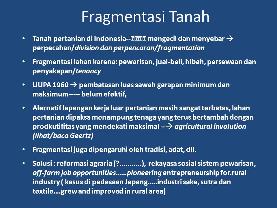 Fragmentasi Tanah Tanah pertanian di Indonesia-- mengecil dan menyebar  perpecahan/division dan perpencaran/fragmentation.