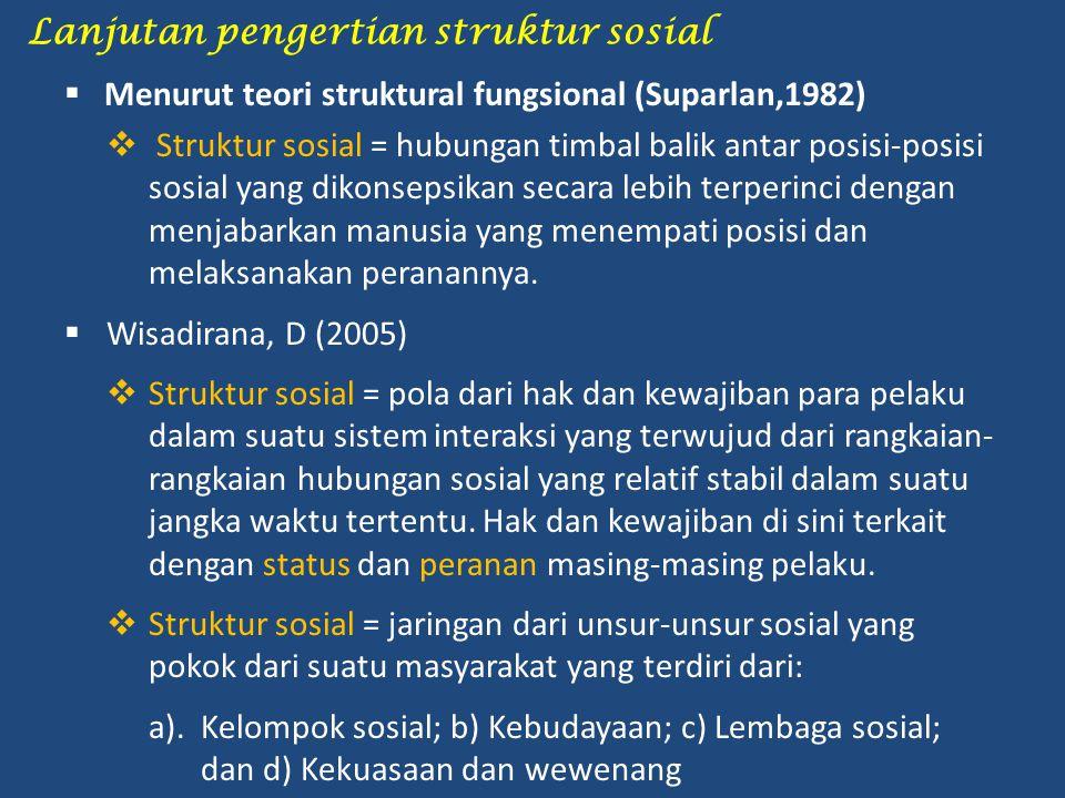 Lanjutan pengertian struktur sosial