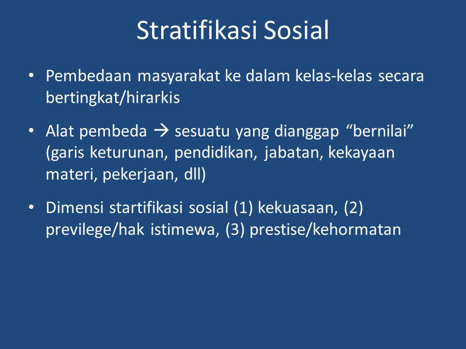 Stratifikasi Sosial Pembedaan masyarakat ke dalam kelas-kelas secara bertingkat/hirarkis.