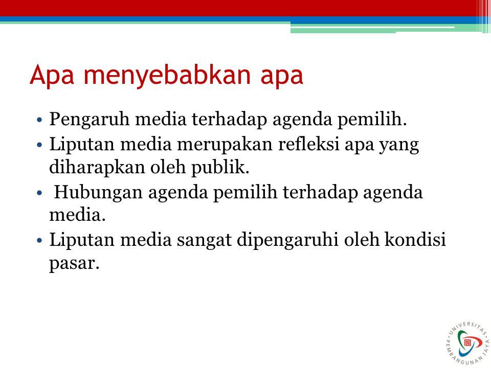 Apa menyebabkan apa Pengaruh media terhadap agenda pemilih.