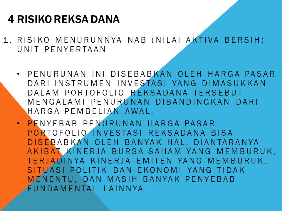 4 risiko reksa dana Risiko menurunnya NAB (Nilai Aktiva Bersih) Unit Penyertaan.
