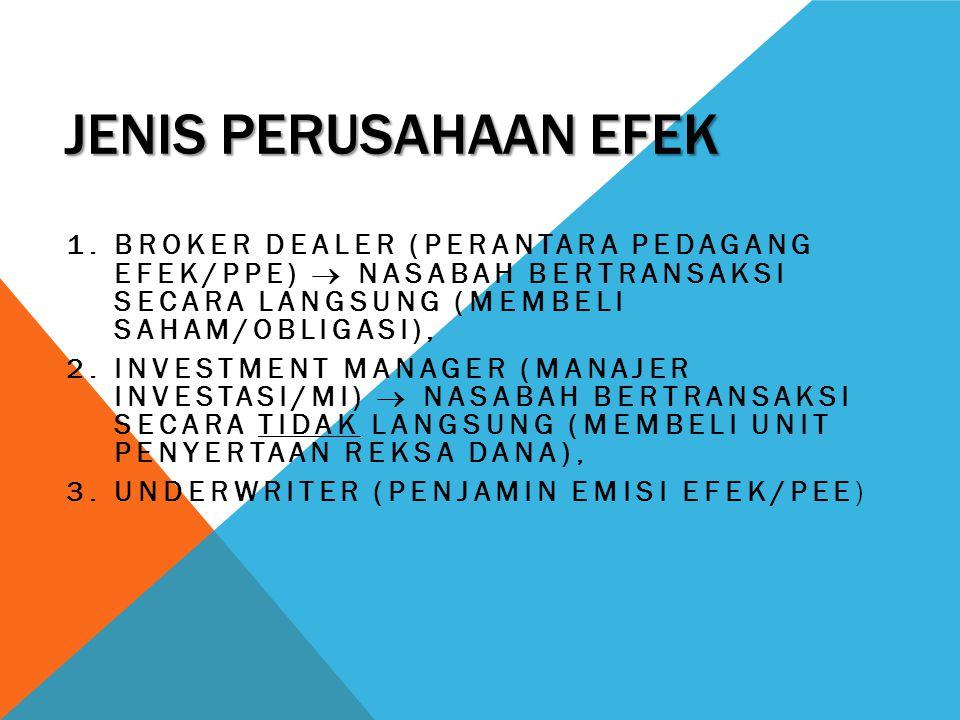 Jenis perusahaan efek Broker dealer (perantara pedagang efek/ppe)  Nasabah bertransaksi secara langsung (membeli saham/obligasi),