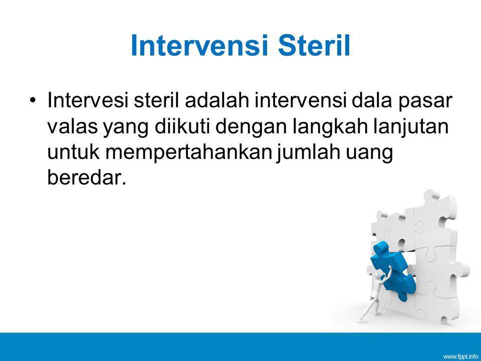 Intervensi Steril Intervesi steril adalah intervensi dala pasar valas yang diikuti dengan langkah lanjutan untuk mempertahankan jumlah uang beredar.