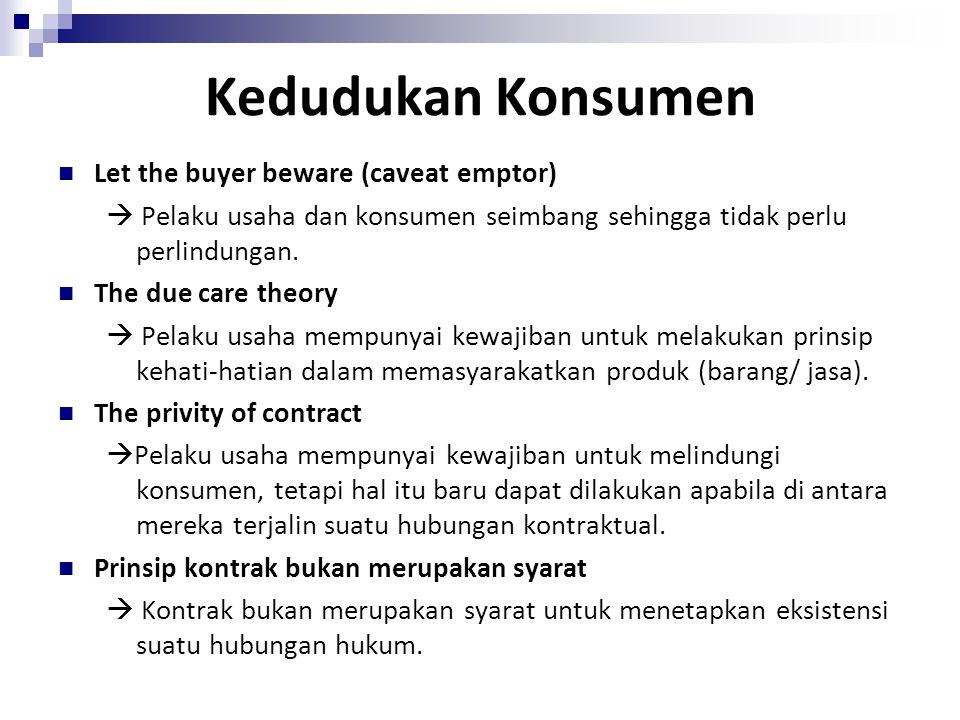 Kedudukan Konsumen Let the buyer beware (caveat emptor)