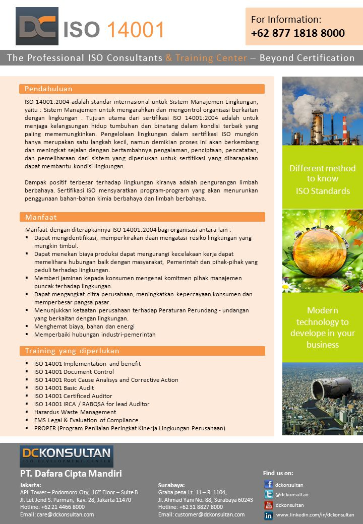 ISO 14001 For Information: +62 877 1818 8000. The Professional ISO Consultants & Training Center – Beyond Certification.
