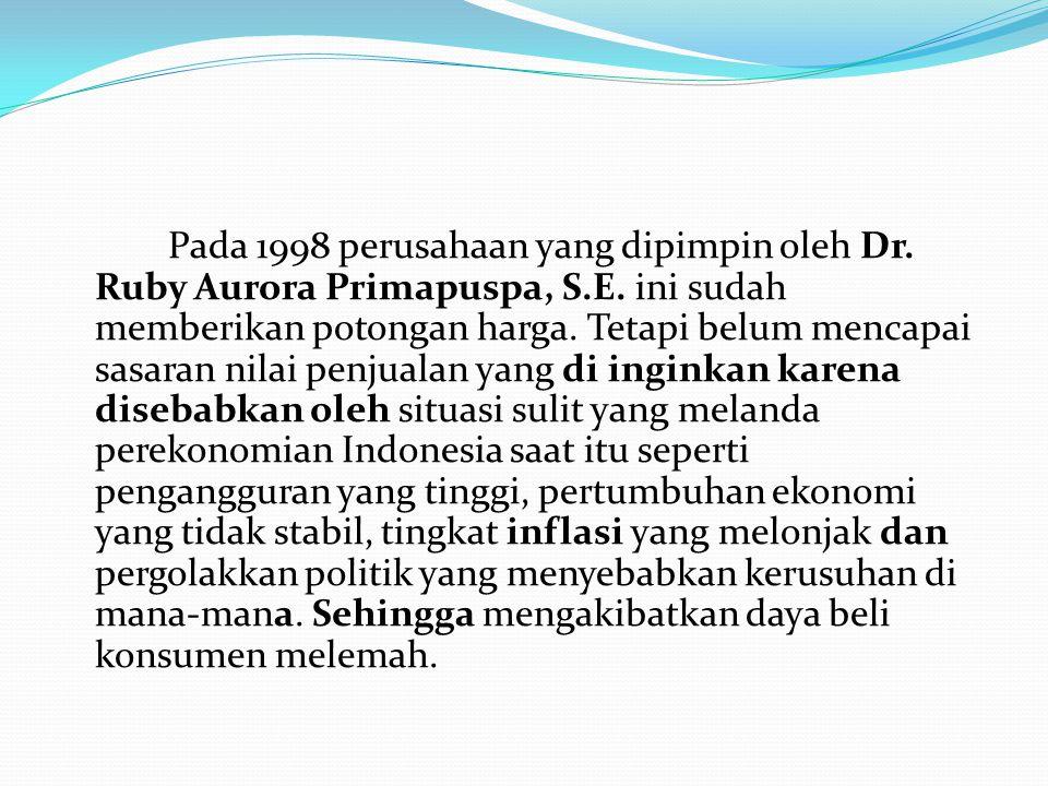 Pada 1998 perusahaan yang dipimpin oleh Dr. Ruby Aurora Primapuspa, S