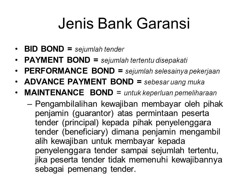 Jenis Bank Garansi BID BOND = sejumlah tender. PAYMENT BOND = sejumlah tertentu disepakati. PERFORMANCE BOND = sejumlah selesainya pekerjaan.
