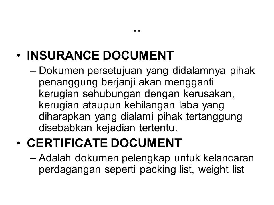 .. INSURANCE DOCUMENT CERTIFICATE DOCUMENT
