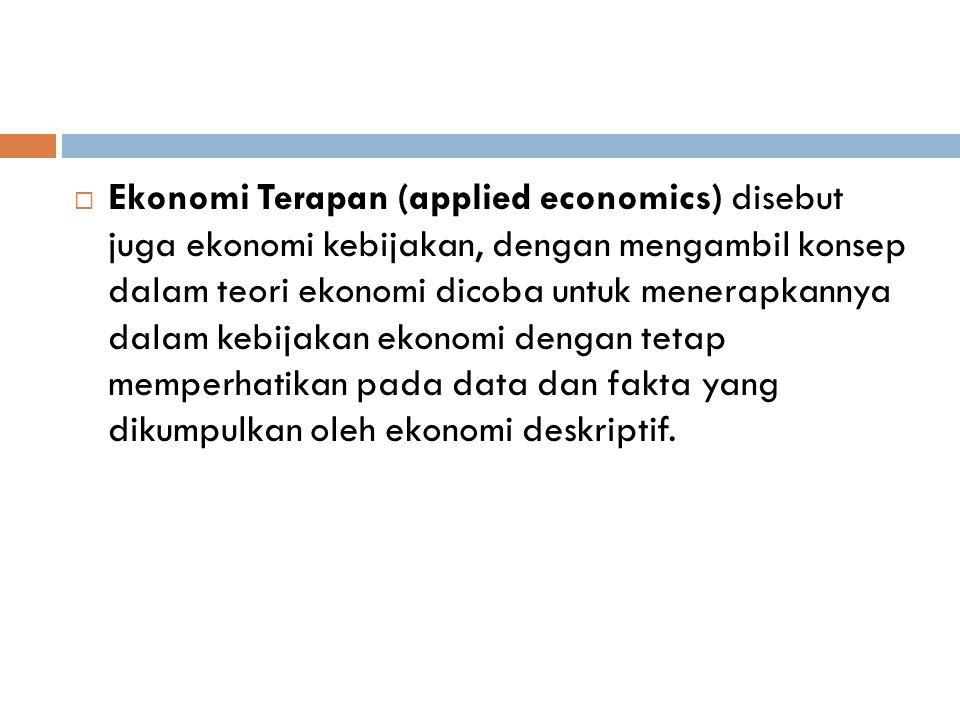 Ekonomi Terapan (applied economics) disebut juga ekonomi kebijakan, dengan mengambil konsep dalam teori ekonomi dicoba untuk menerapkannya dalam kebijakan ekonomi dengan tetap memperhatikan pada data dan fakta yang dikumpulkan oleh ekonomi deskriptif.
