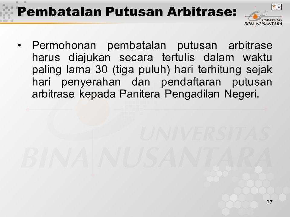 Pembatalan Putusan Arbitrase: