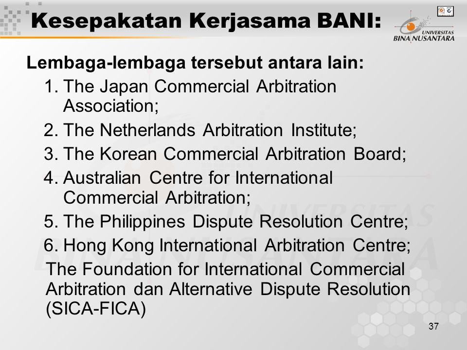 Kesepakatan Kerjasama BANI: