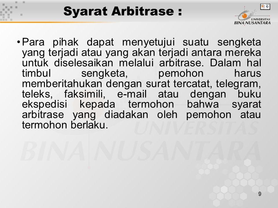 Syarat Arbitrase :