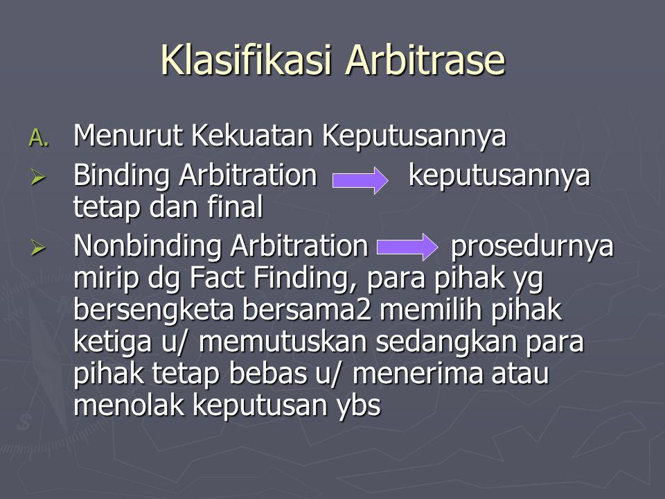 Klasifikasi Arbitrase