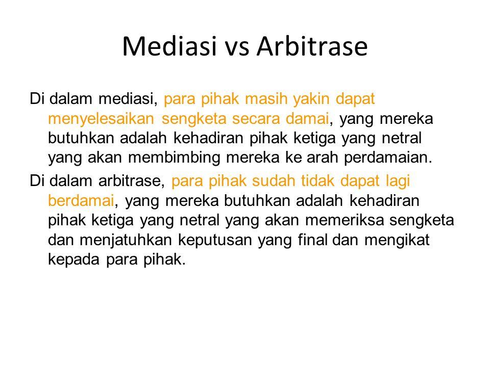 Mediasi vs Arbitrase