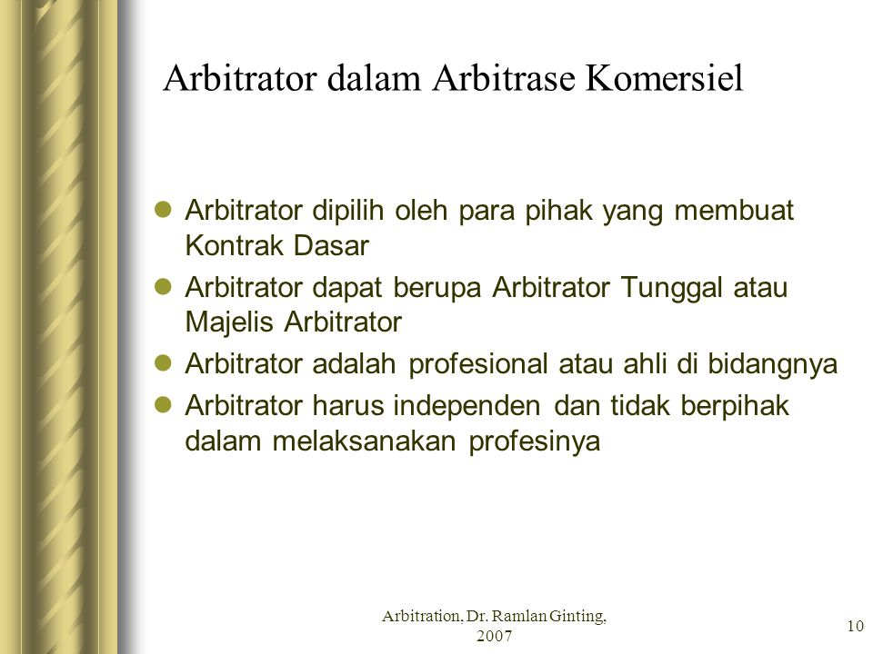 Arbitrator dalam Arbitrase Komersiel