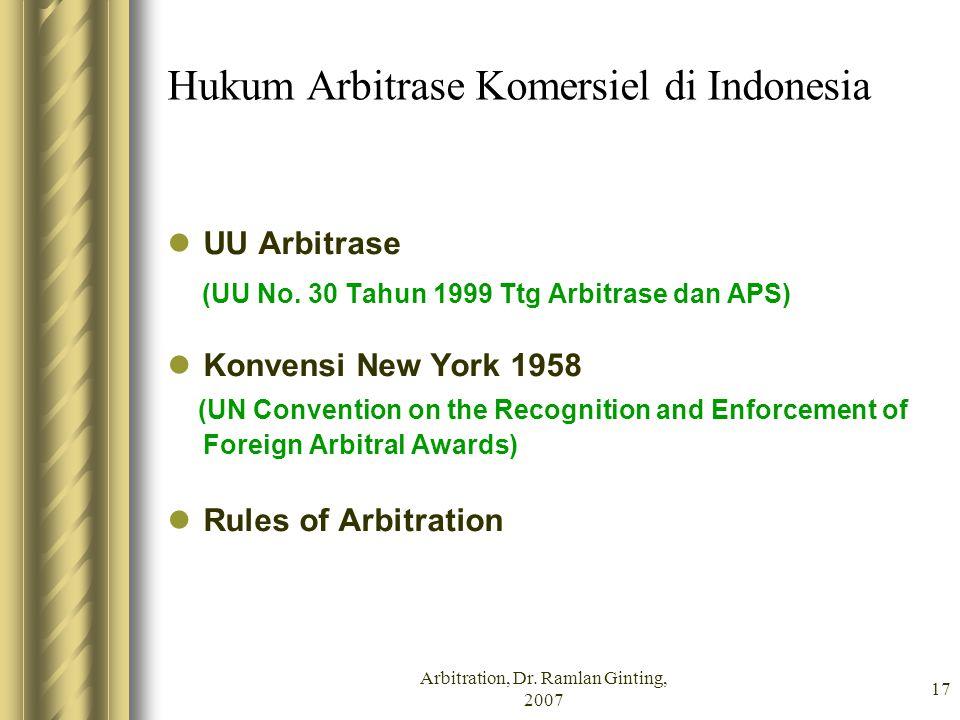 Hukum Arbitrase Komersiel di Indonesia