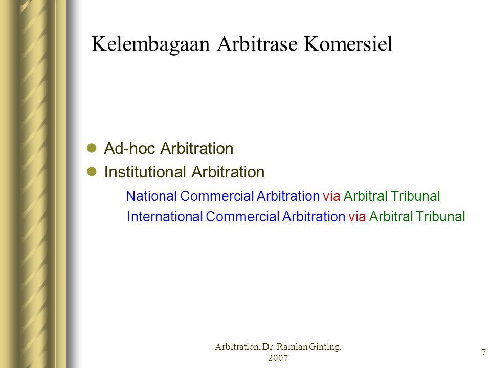 Kelembagaan Arbitrase Komersiel