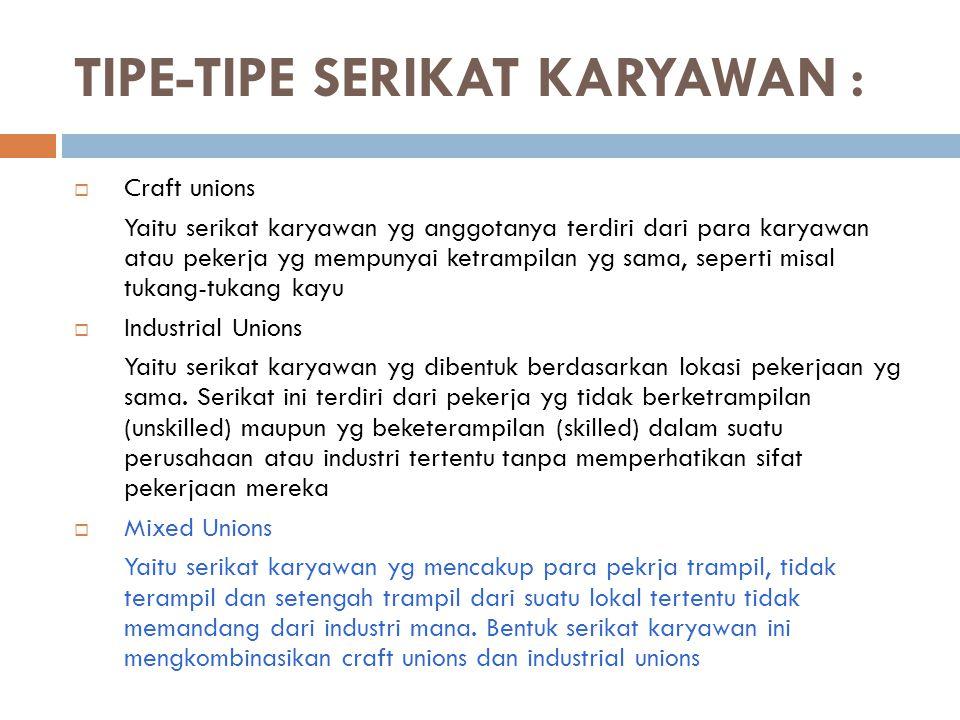 TIPE-TIPE SERIKAT KARYAWAN :