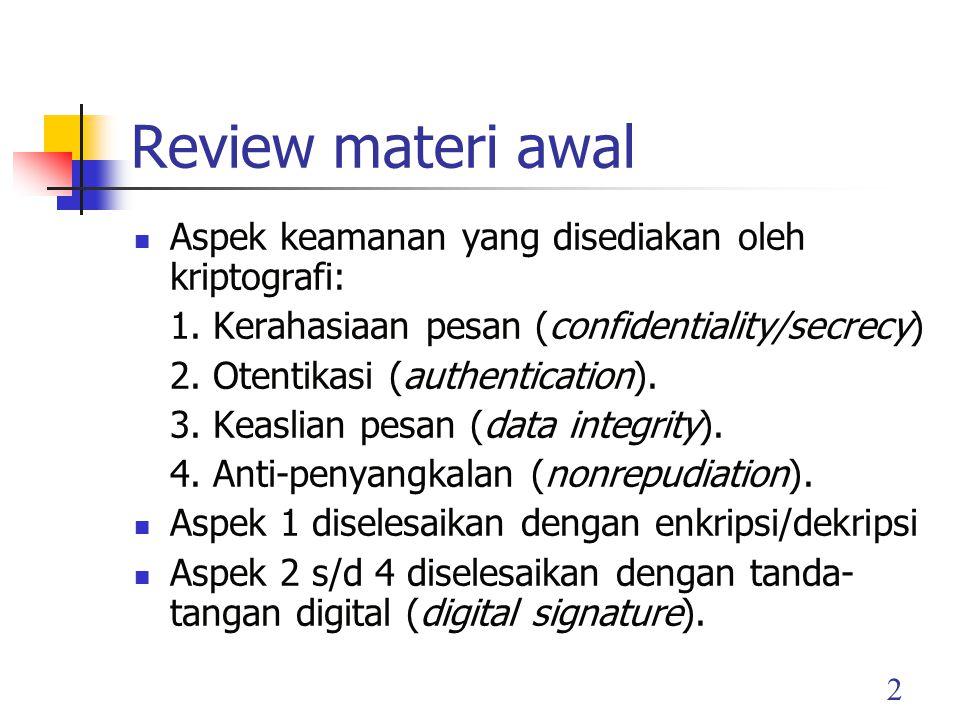 Review materi awal Aspek keamanan yang disediakan oleh kriptografi: