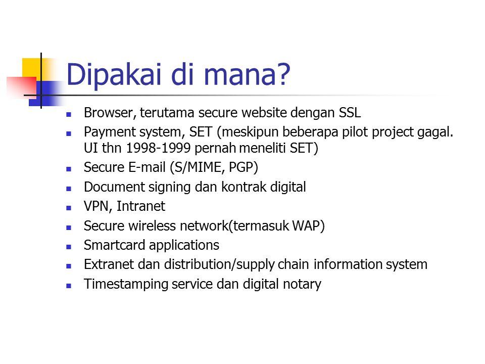 Dipakai di mana Browser, terutama secure website dengan SSL
