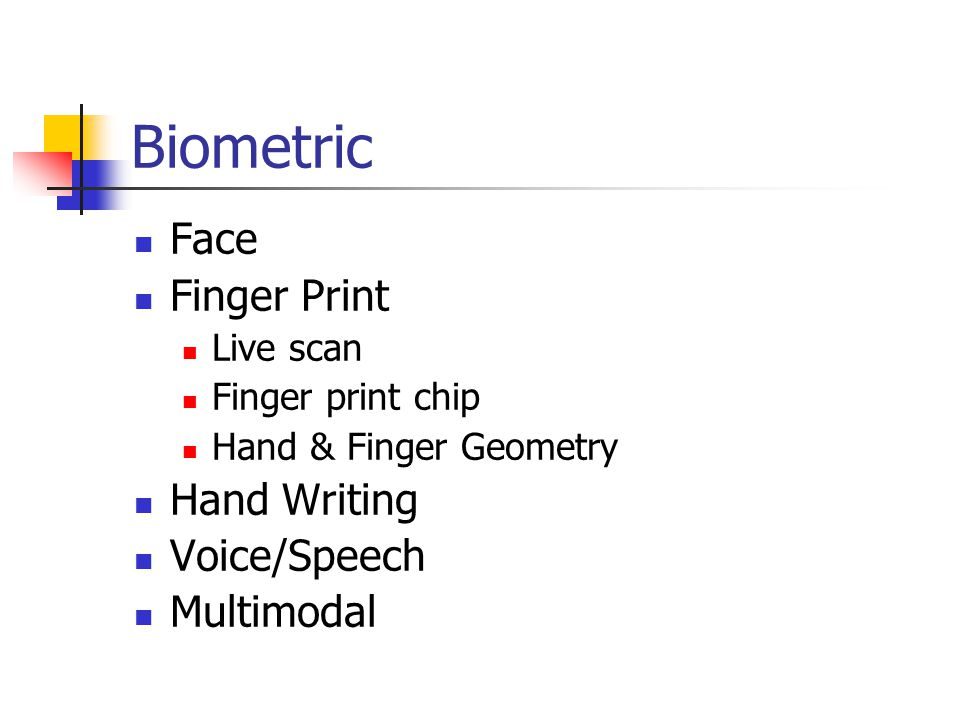 Biometric Face Finger Print Hand Writing Voice/Speech Multimodal