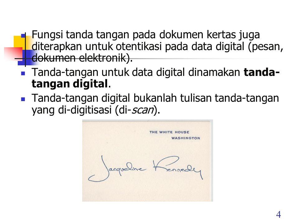 Fungsi tanda tangan pada dokumen kertas juga diterapkan untuk otentikasi pada data digital (pesan, dokumen elektronik).