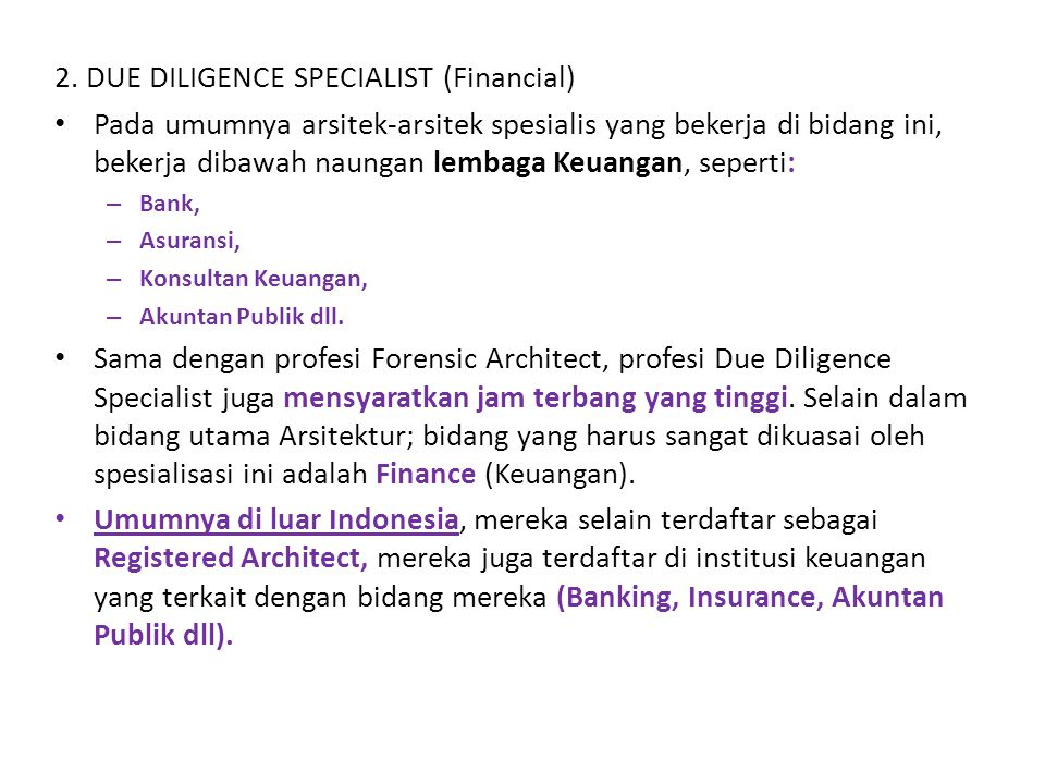 2. DUE DILIGENCE SPECIALIST (Financial)
