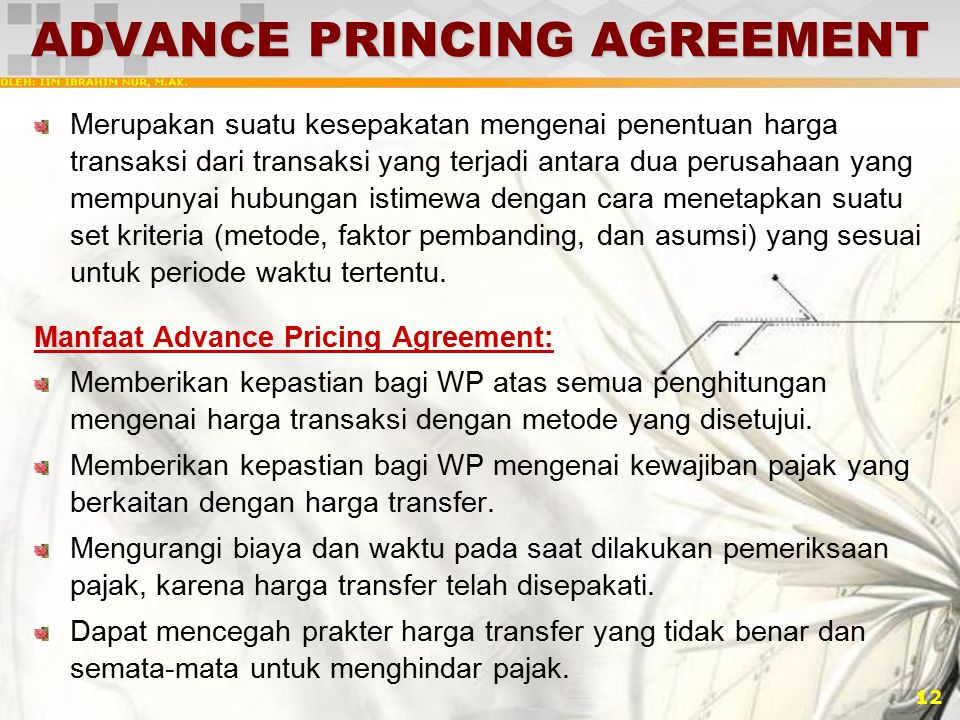 ADVANCE PRINCING AGREEMENT