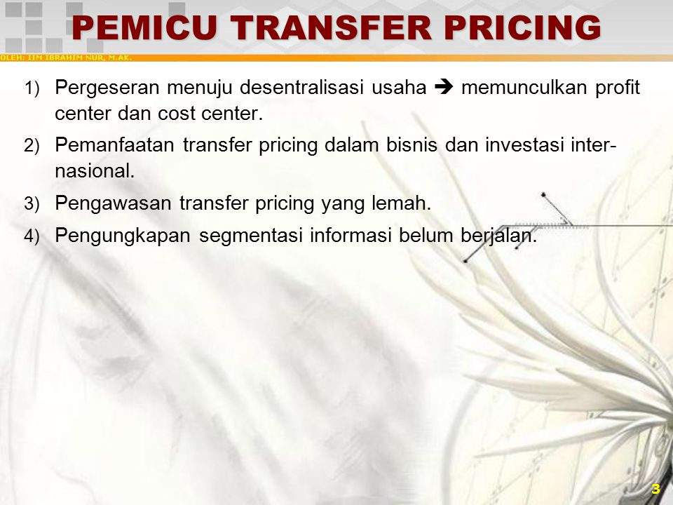 PEMICU TRANSFER PRICING