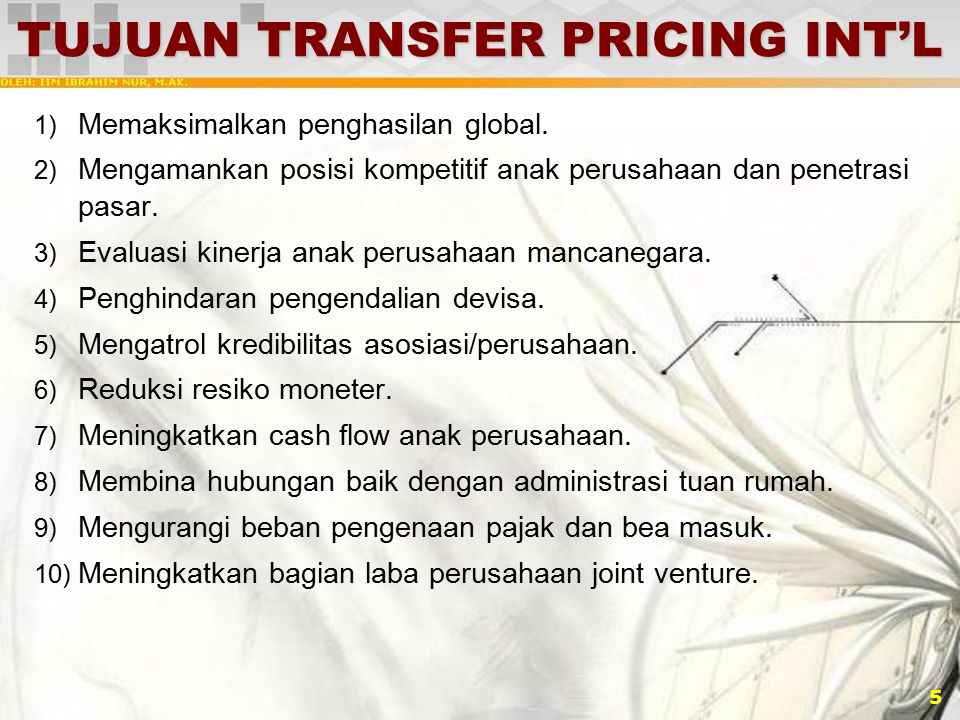 TUJUAN TRANSFER PRICING INT'L