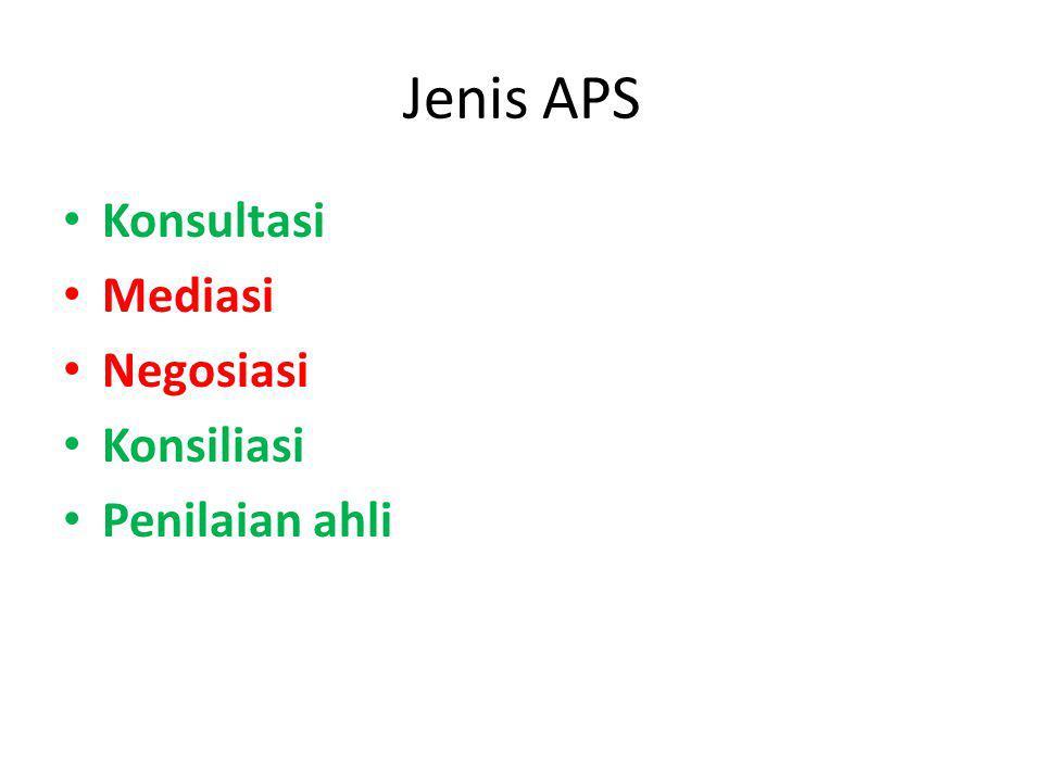 Jenis APS Konsultasi Mediasi Negosiasi Konsiliasi Penilaian ahli