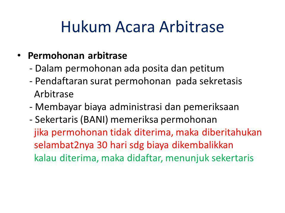 Hukum Acara Arbitrase Permohonan arbitrase