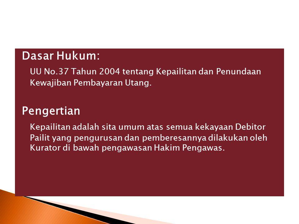 Dasar Hukum: UU No.37 Tahun 2004 tentang Kepailitan dan Penundaan Kewajiban Pembayaran Utang.